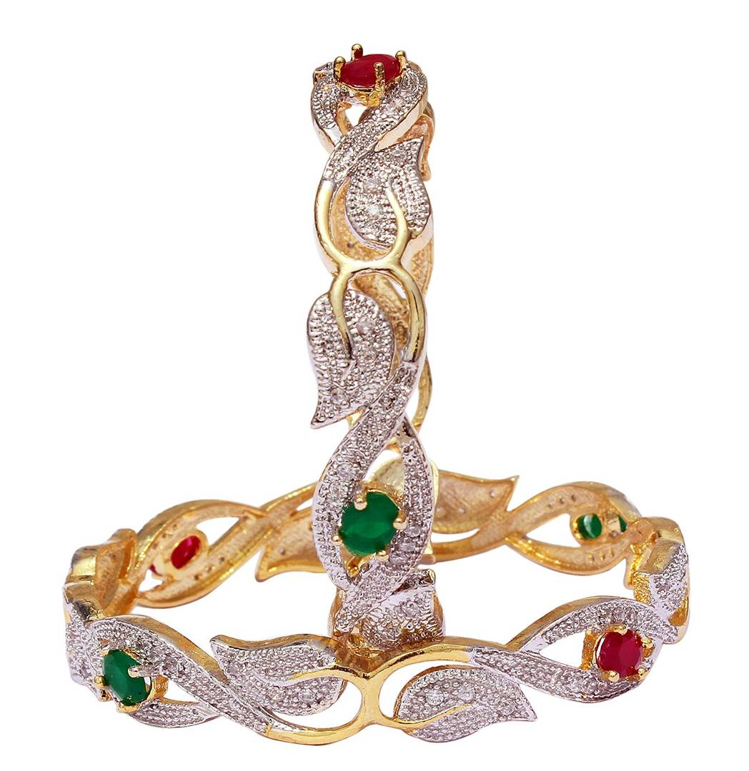 Gold Plated American Diamond Bangles for Women and Girls Size_2.4
