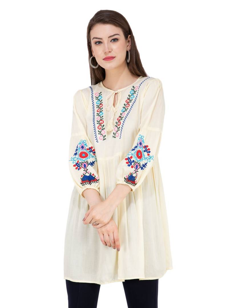 Women Rayon Embroidered Tunic Top