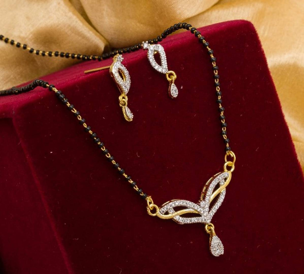 American Diamond Mangalsutra With Earrings