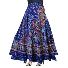 Load image into Gallery viewer, Blue Cotton Printed Wrap Around Skirt
