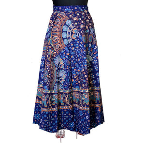 Blue Cotton Printed Wrap Around Skirt