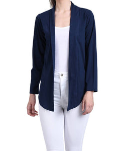 Stylish Navy Cotton Solid Shrug