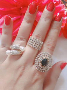 Trendy American Diamond Women's Finger Ring combo set