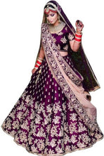 Load image into Gallery viewer, New Heavy Purple Taffeta Satin Embroidery Lehenga Choli