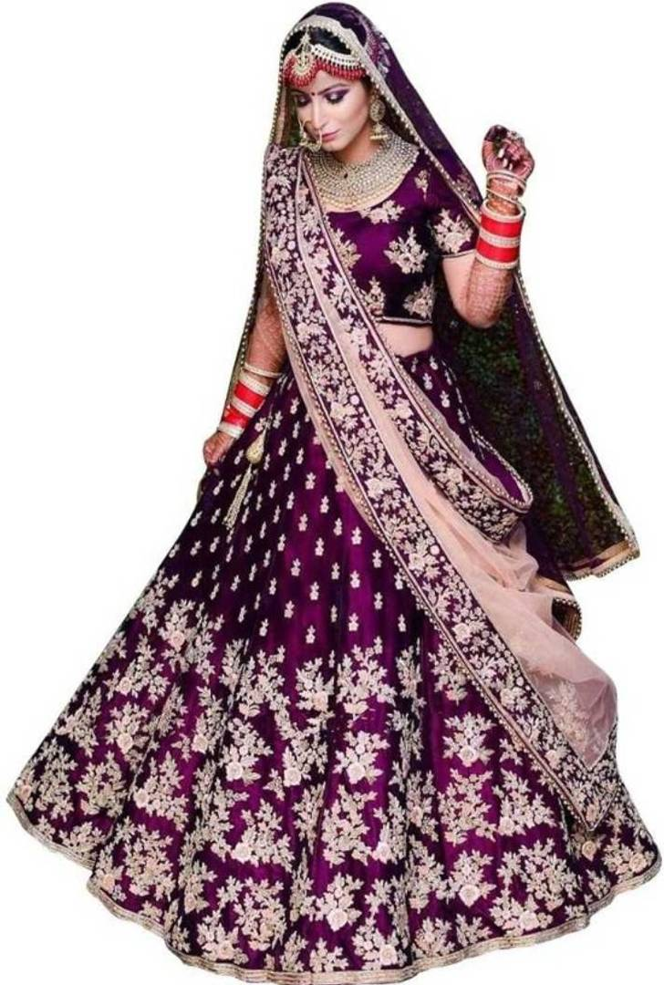 New Heavy Purple Taffeta Satin Embroidery Lehenga Choli