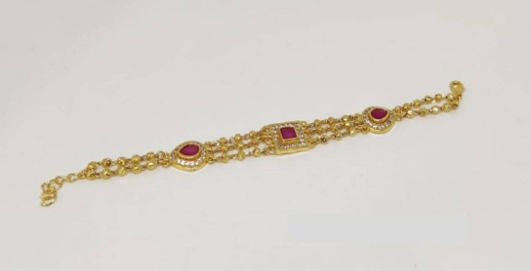 Beautiful Red American Diamond 3 Layer Golden Bracelet
