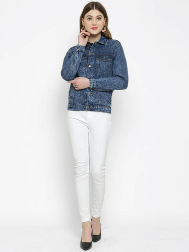 Trendy Blue Denim Jacket For Women