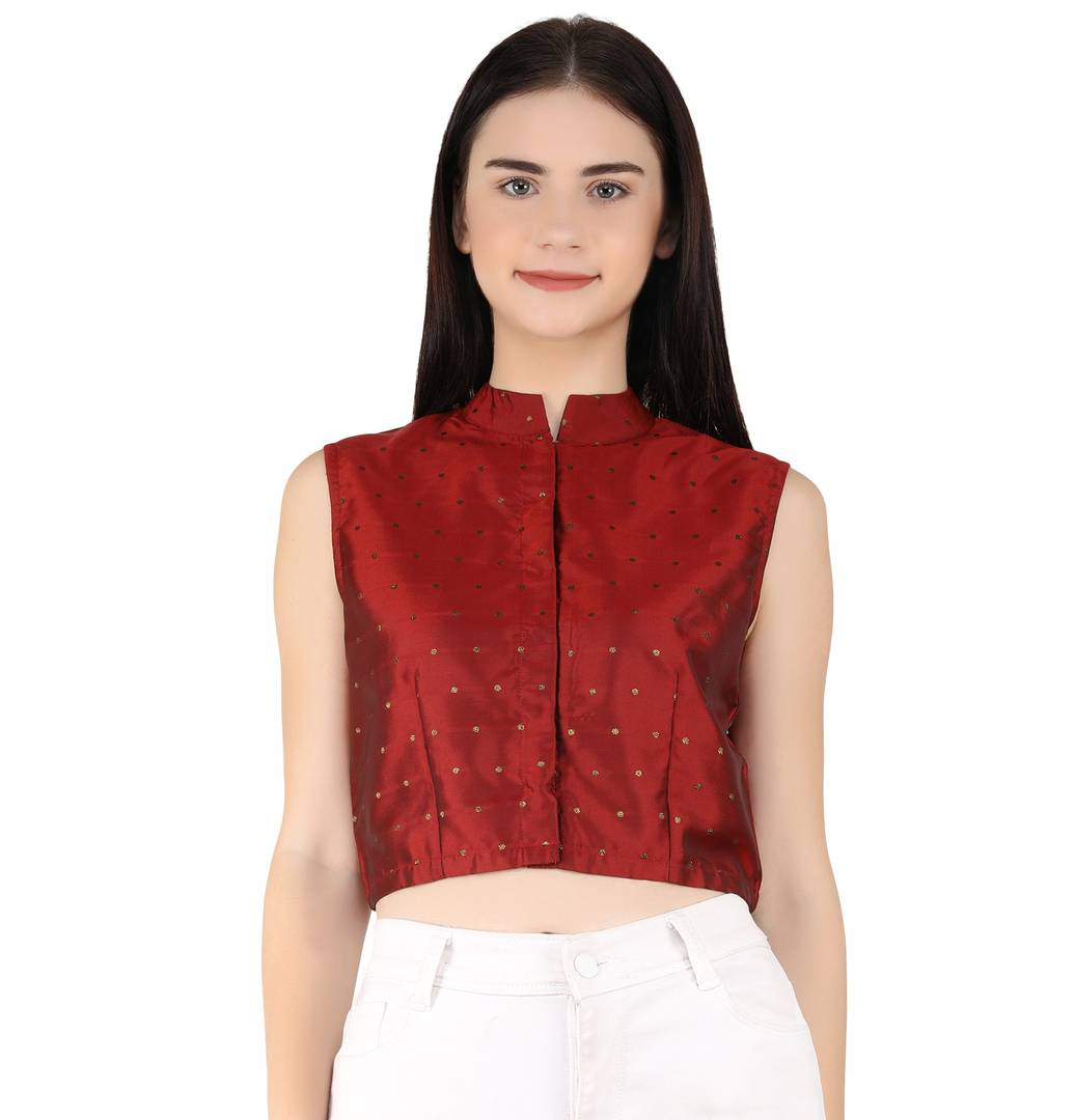 Women's Party No Sleeve Gold Foil Printed Maroon Top