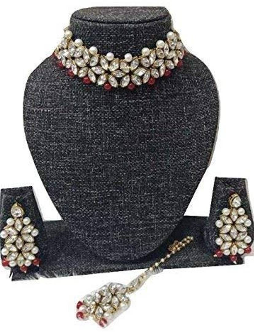 Elegant Gold Plated Bridal Necklace Jewellery Set with Earrings for Women
