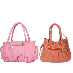 Stylish Artificial Leather Solid Handbags Combo Set For Women (2 Pieces)