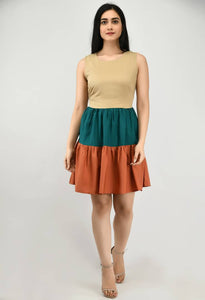 Modern Beige Crepe Skater Dress For Women