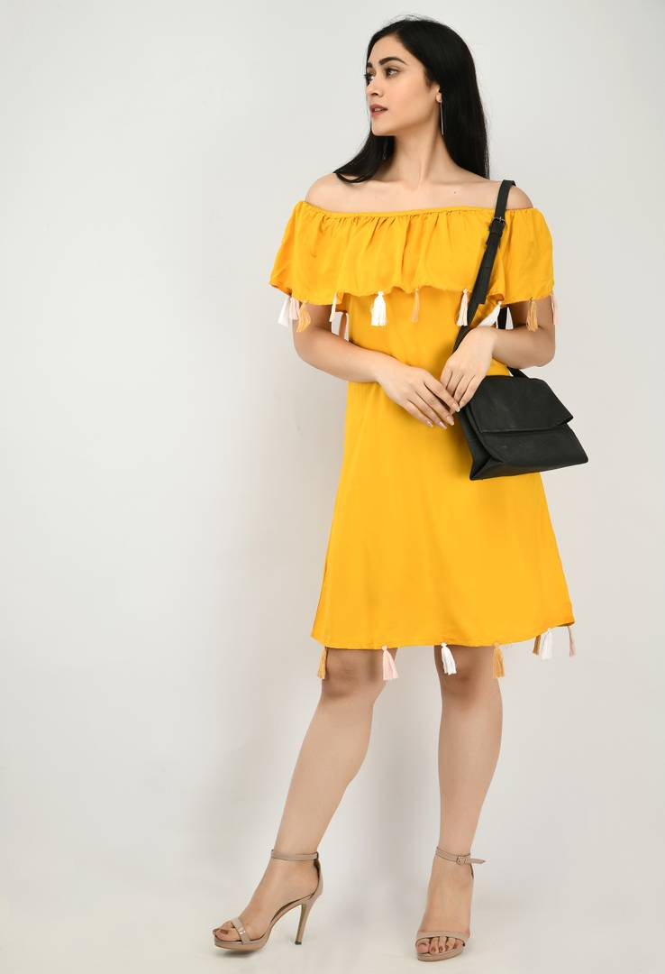 Modern Yellow Crepe Off Shoulder For Women