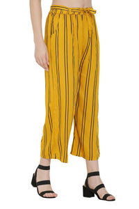 Yellow Rayon Striped Mid-Rise Trousers
