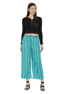 Blue Rayon Striped Mid-Rise Trousers