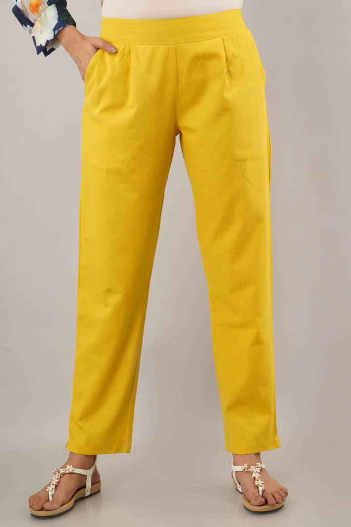 Women's Stylish and Trendy Yellow Solid Cotton Flex Mid-Rise Trousers