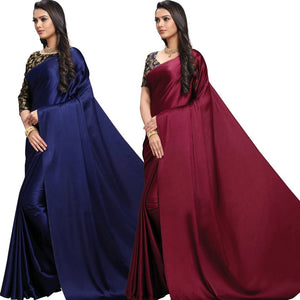 Stylish Satin Blend Maroon And Navy Blue Solid Saree With Blouse Piece (Pack Of 2)