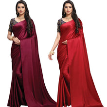 Load image into Gallery viewer, Stylish Satin Blend Red And Maroon Solid Saree With Blouse Piece (Pack Of 2)