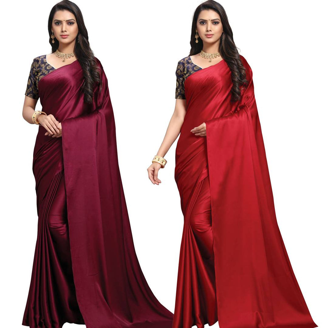 Stylish Satin Blend Red And Maroon Solid Saree With Blouse Piece (Pack Of 2)