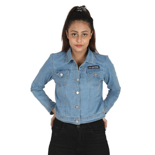 Stylish Blue Denim Self Design Jackets For Women