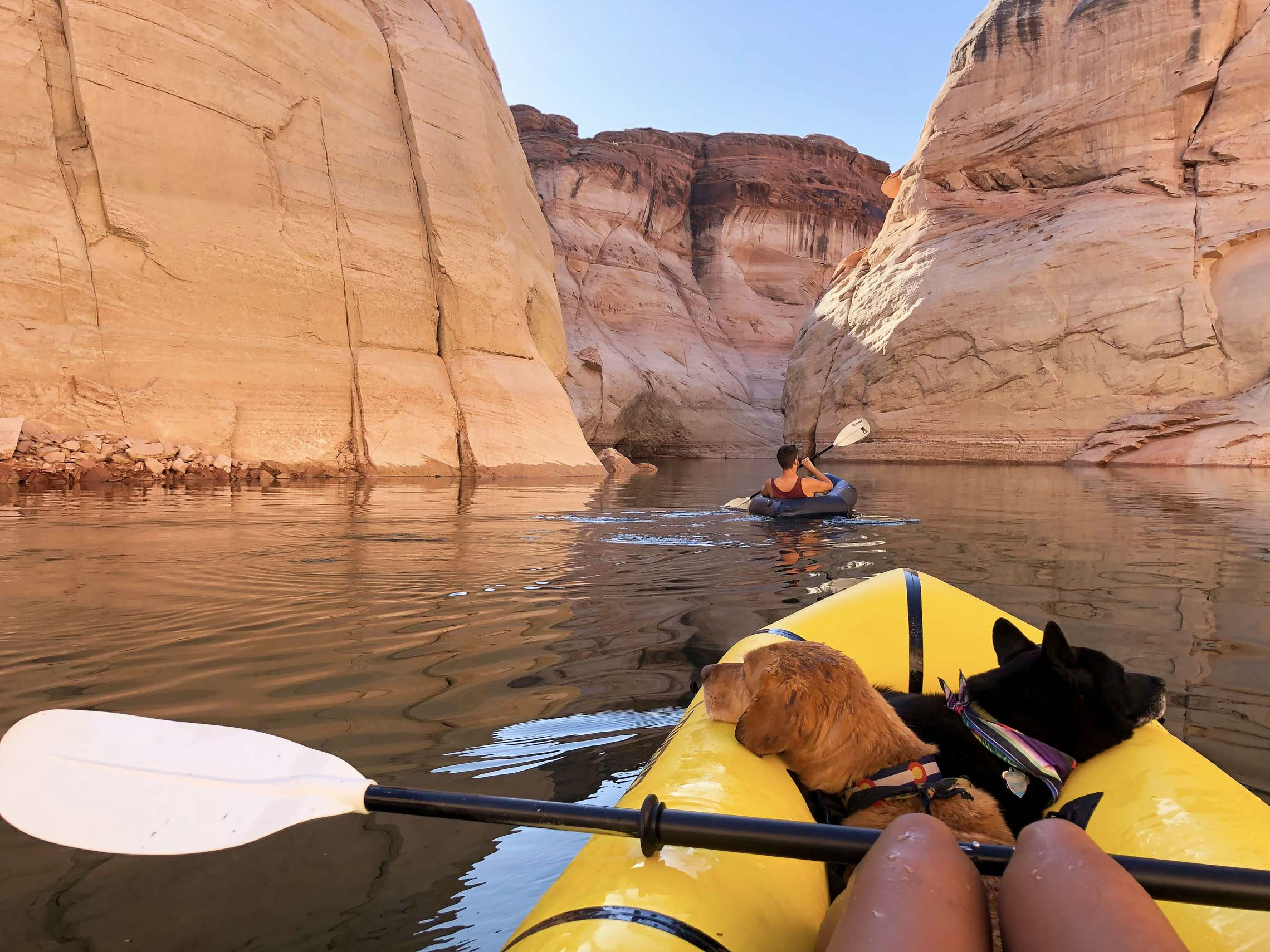 Dog and a person inside a packraft on water surrounded by boulders. Vanlife to packrafting put-ins