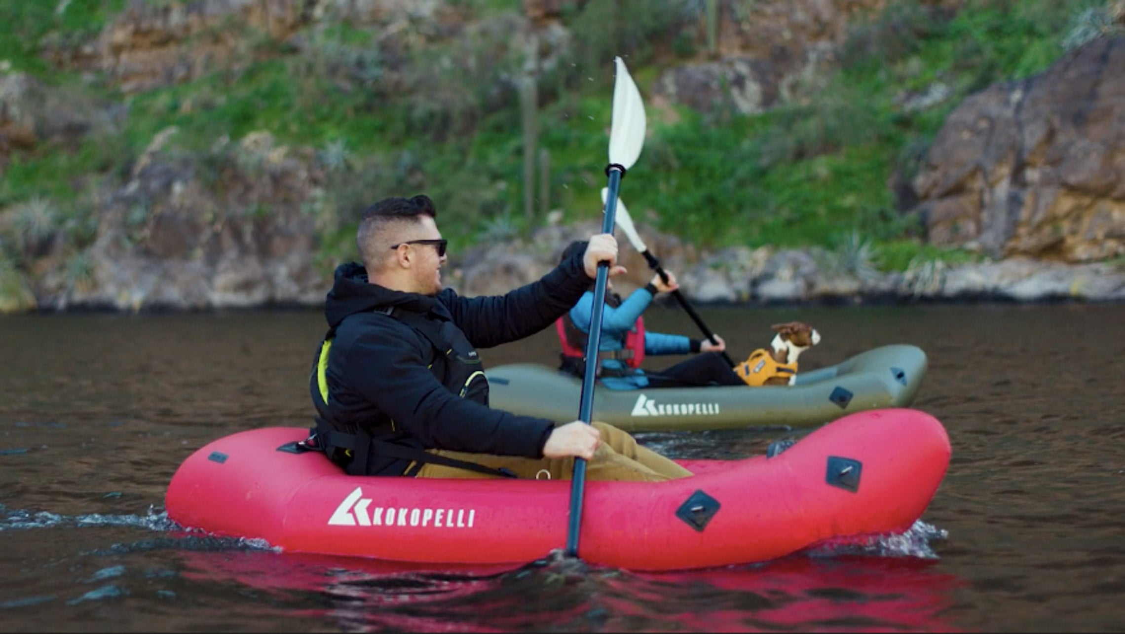 Two friends packrafting with the XPD Kokopelli Packraft