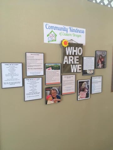 Our wall of Kindness. In our store you'll find a wall where we try to display at least our most recent kindness efforts.