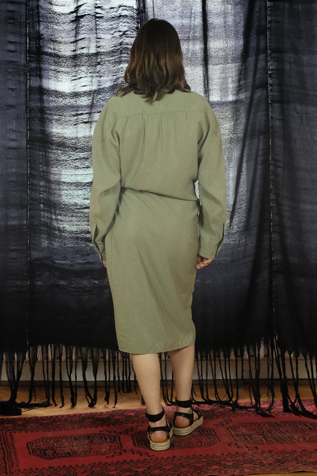 Lemaire — Twisted Silk Dress / Sage