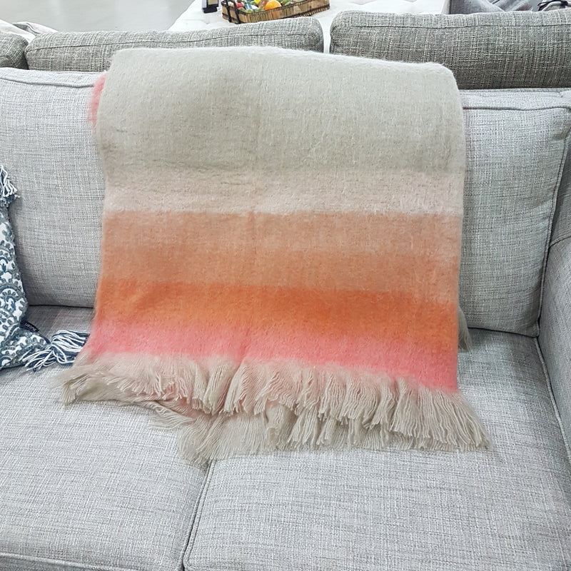 Rust striped fringe throw