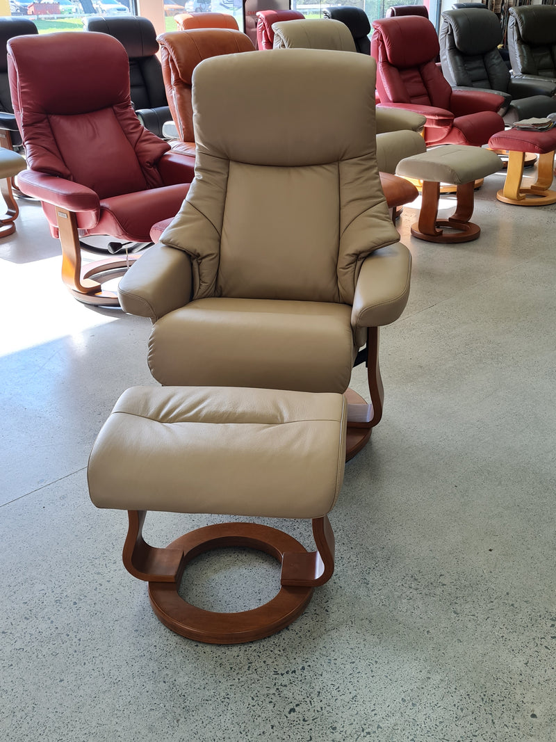 Angelo Recliner with Swivel Base and Matching Footstool