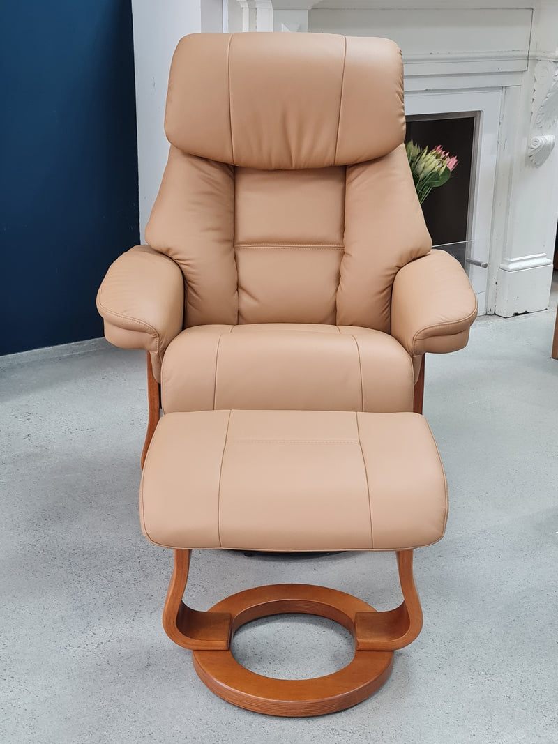 Alfredo Recliner with Swivel Base  and Matching Footstool