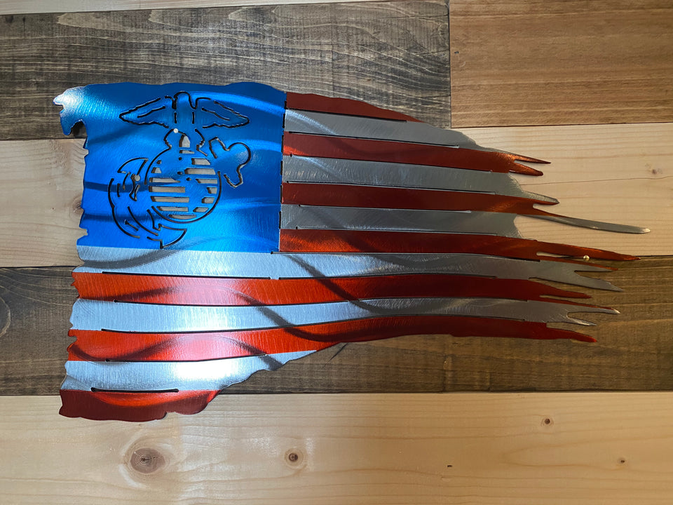 Metal Marines American Flag Sign