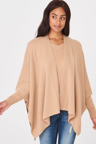 Repeat 100% Cashmere Cape in Camel Front