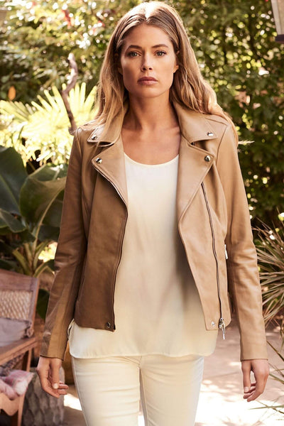 Repeat Leather Jacket in Nougat Front