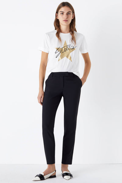 Marella Baci Navy Trousers Cigarette Style front