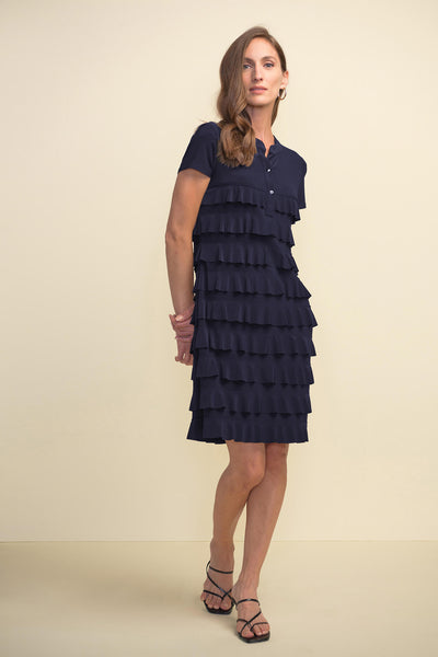 Joseph Ribkoff 211350 Midnight Blue Ruffle Layer Dress