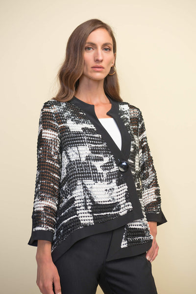 Joseph Ribkoff 211360 Black White Asymmetric Jacket