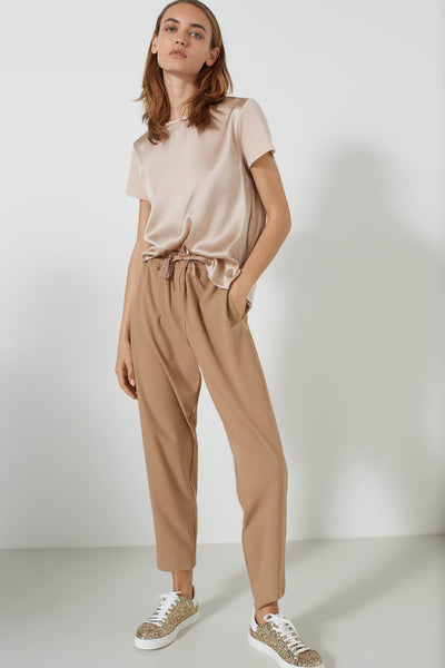 Marella Nasco Camel Joggers With Drawstring Waist Front