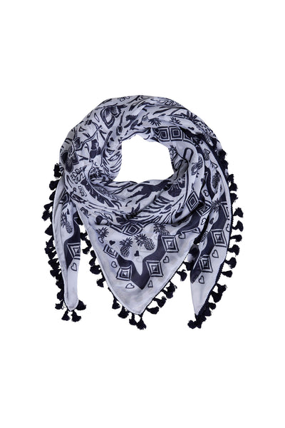 Oui 72822 White Navy Tropical Print Scarf With Tassels - Olivia Grace Fashion