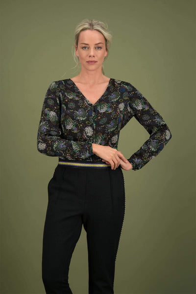 POM Amsterdam Sparky Black and Green Blouse Front