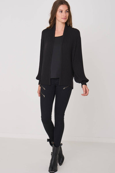 Repeat Ribbed Cardigan With Puffed Sleeves in Black Front