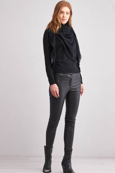 Repeat 100% Cashmere Wrap in Black Front