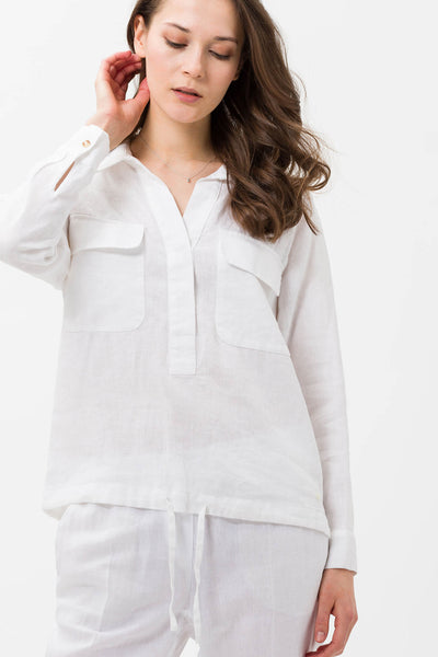 Brax Valina 44-9104 White Shirt Style Top - Olivia Grace Fashion