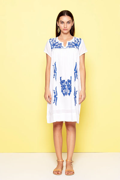 Dream DMD933 White Blue Tunic Dress - Olivia Grace Fashion