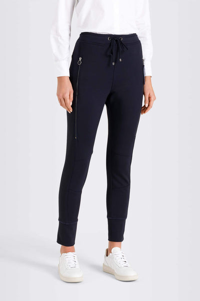 MAC Future Sporty Pull On Navy Trousers Front