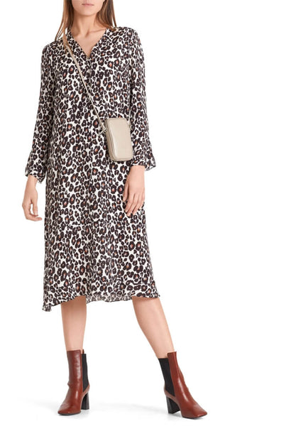Marc Cain Leopard Print Dress With Silk Front