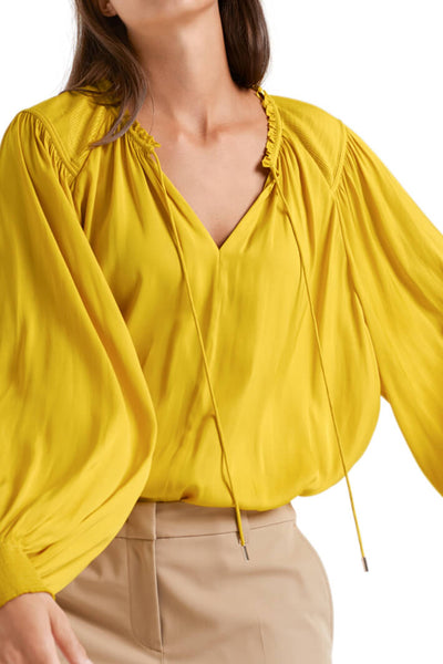 Marc Cain QC 51.10 W19 Corn Yellow Tie Front Blouse