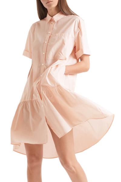 Marc Cain Sport QS 21.24 W30 Peach Shirt Dress With Short Sleeves - Olivia Grace Fashion