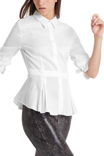 Marc Cain White Shirt With Soft Pleated Peplum Front