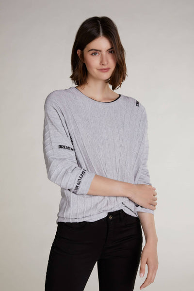 Oui Grey Cotton Jumper With Fun Word Pattern Front
