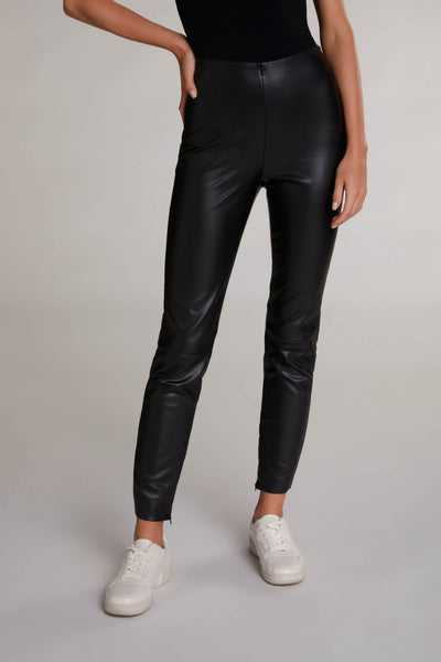 Oui Leather Look Black Skinny Trousers Front